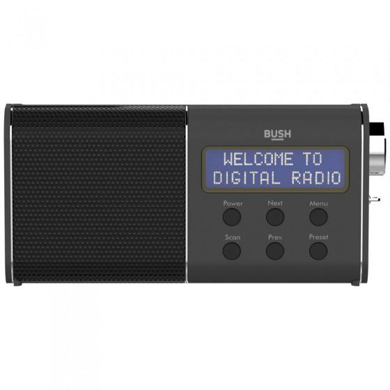 Bush Compact Rechargeable DAB/FM Radio - Black