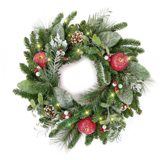 Premier Decorations 60cm LED Christmas Wreath - Green