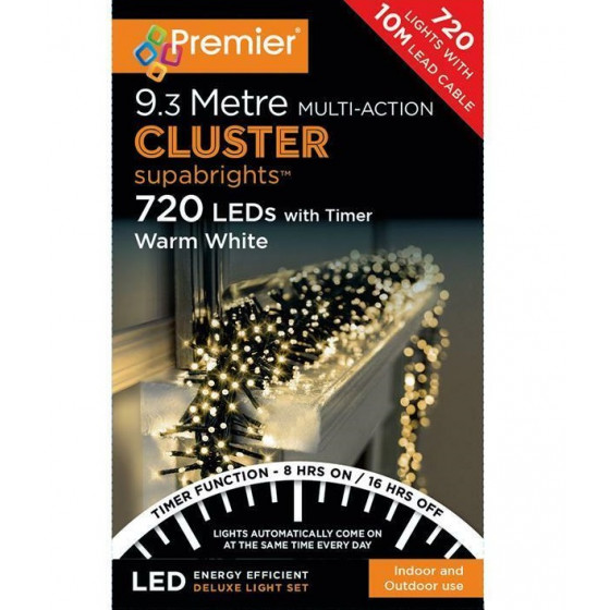 Premier Decorations 720 LED Cluster Christmas Lights With Timer - Warm White