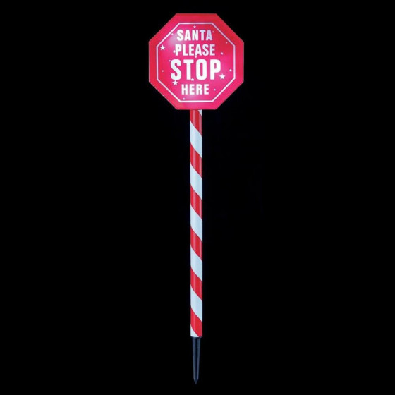 Premier Decorations 80cm LED Santa Please Stop Here Sign - White