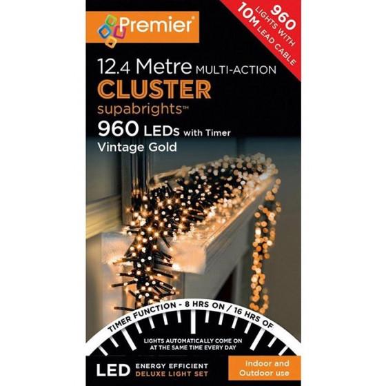 Premier Decorations 960 LED & Timer Christmas Cluster Lights - Vintage Gold