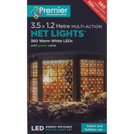 Premier 360 LED Multi Action Christmas Net Lights - Warm White
