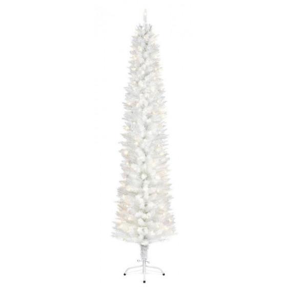 Premier Decorations 6.5ft Pre-lit Pencil Christmas Tree - White