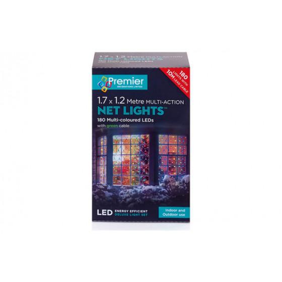 Premier Decorations 1.75 x 1.2m LED Net Light - Multicoloured