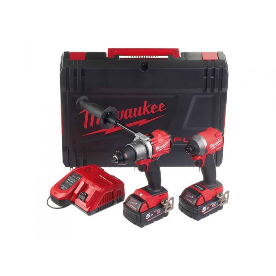 Milwaukee M18FPP2A2-502X 18v Li-ion Fuel Dynacase Twin Pack Kit