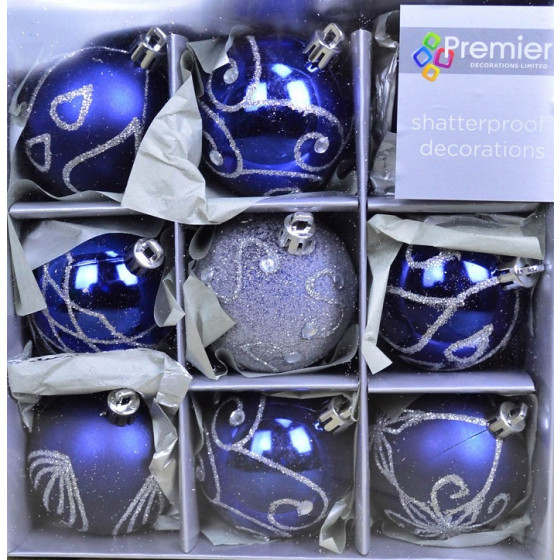 Premier Set Of 9 Midnight Blue Christmas Tree Baubles - 6cm