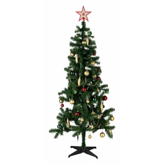 Home 6ft Christmas Tree With Lights & Decorations - Green