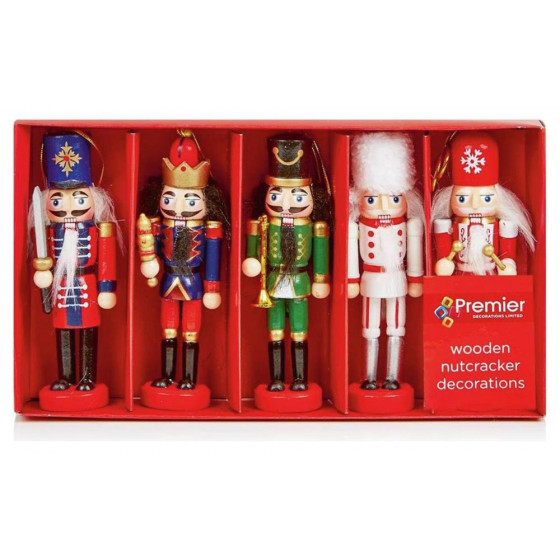 Premier Decorations Set Of 5 Wooden Nutcracker Decorations