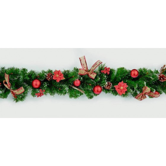Premier Decorations 1.8m Dressed Garland - Green & Red