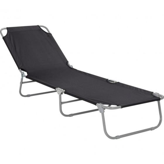 Home Foldable Sun Lounger - Black