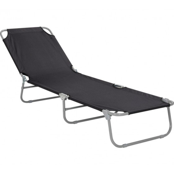 Home Foldable Sun Lounger - Black