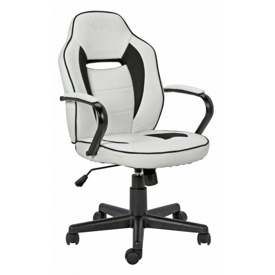Home Faux Leather Mid Back Gaming Chair - White & Black