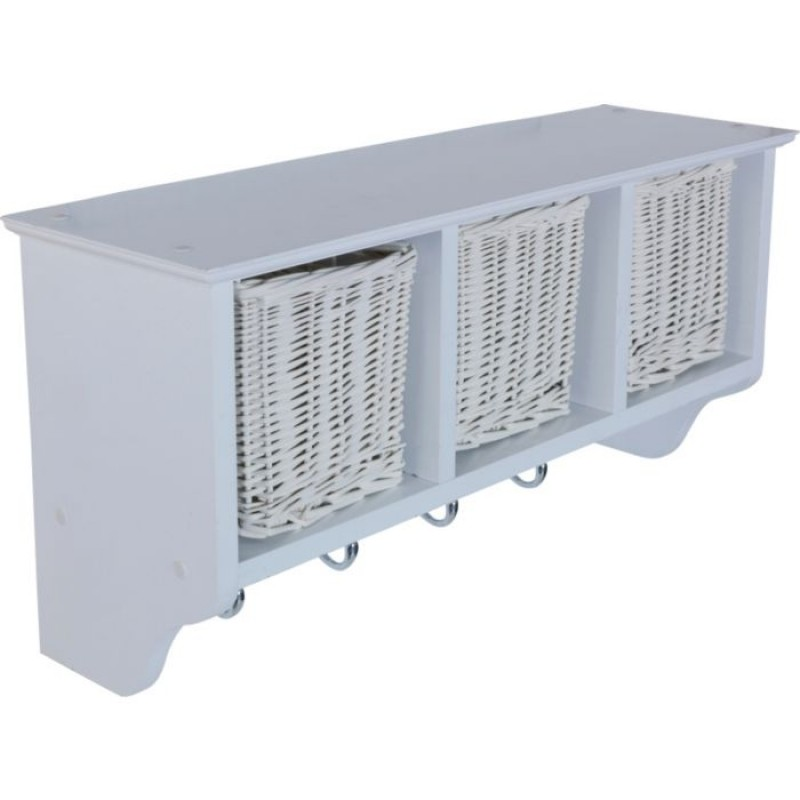 wooden 3 basket storage unit with 4 coat hooks - white - storage, Wohnideen design
