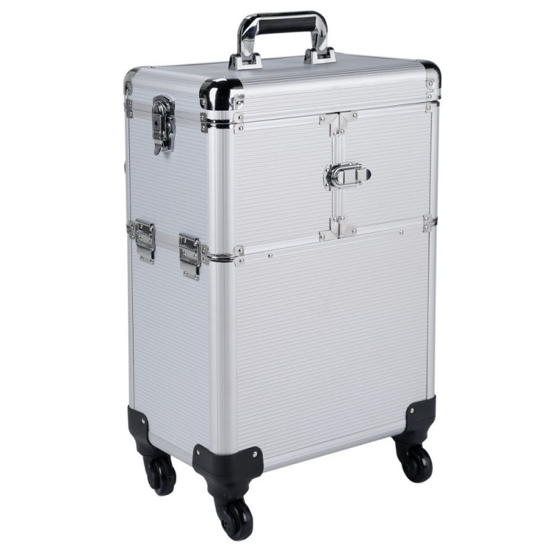 pretty pink large silver trolley vanity case luggage. Black Bedroom Furniture Sets. Home Design Ideas