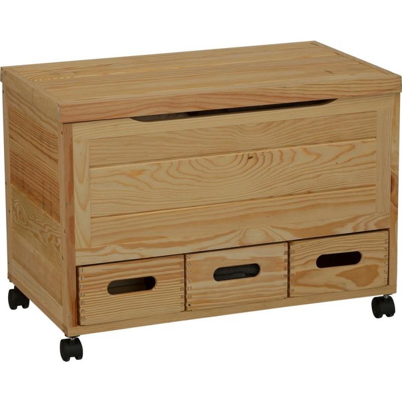 Wooden 3 Drawer Storage Chest On Wheels Pine Storage