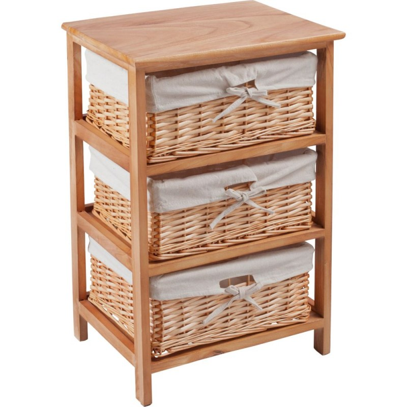 3 Basket Wooden Storage Unit   Brown (Slight Chip Front Right Corner)