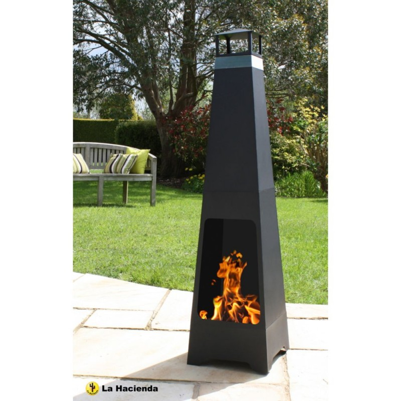 La Hacienda Contemporary Tall Steel Chiminea
