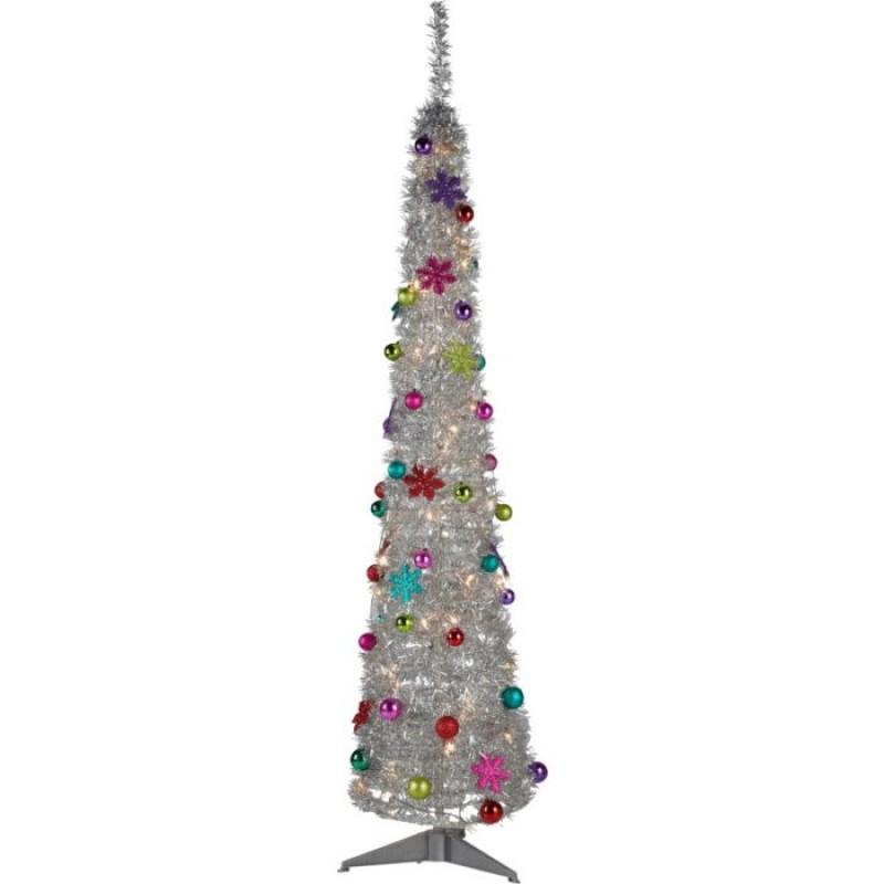 Silver Tinsel Pop Up Christmas Tree - 6ft - Silver Tinsel Pop Up Christmas Tree - 6ft - Christmas Trees