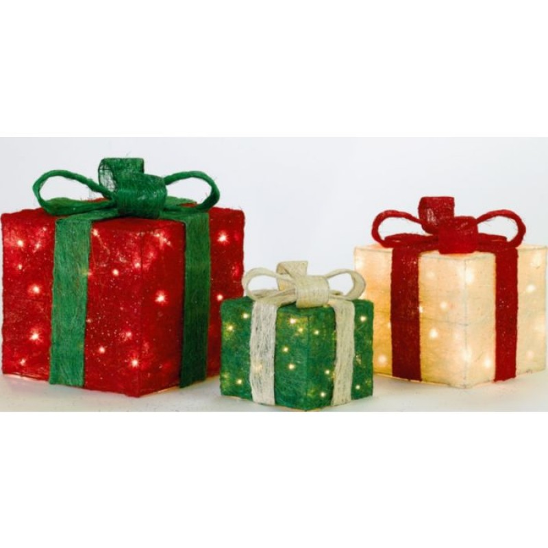 set of 3 light up christmas gift boxes