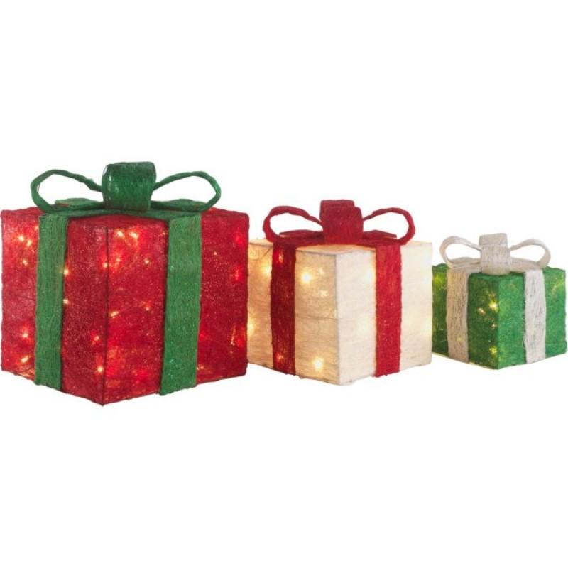 set of 3 light up christmas gift boxes - Light Up Presents Christmas Decorations