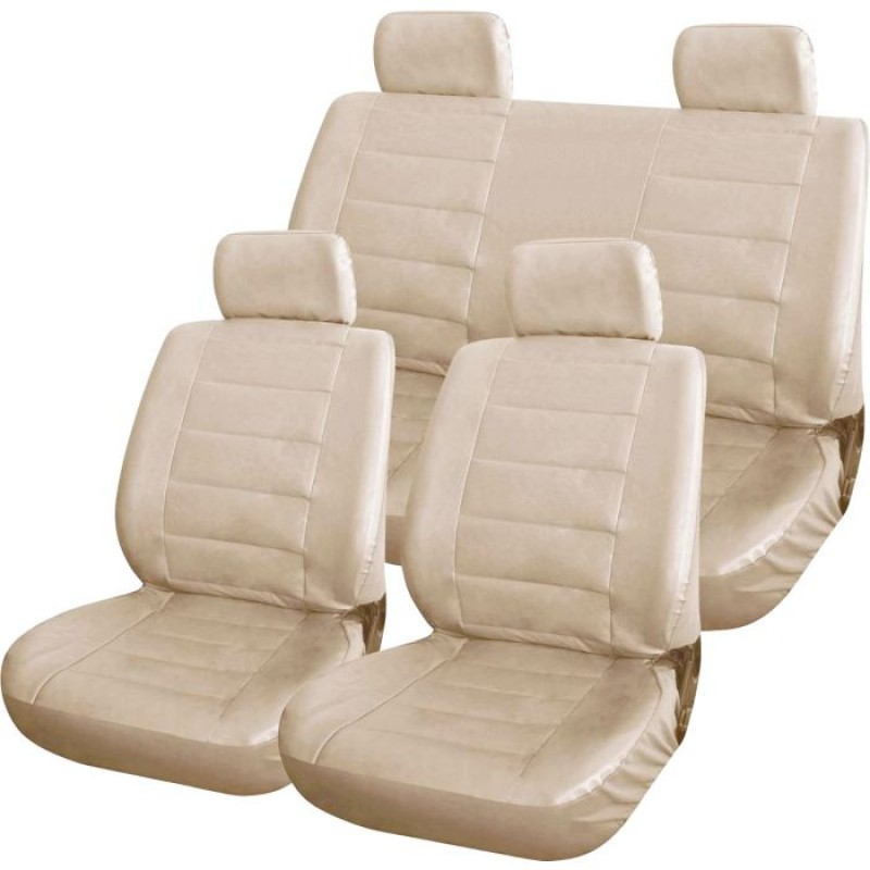 Cream Leather Look Car Seat Covers