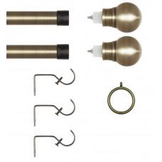 Home Extendable Metal Ball Curtain Pole - Antique Brass