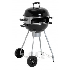 Home Kettle Charcoal BBQ With Pizza Oven - Black (No Ash Catcher Handle)