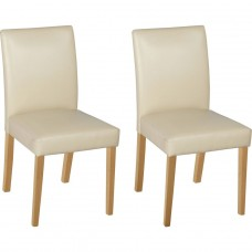 Aston Pair of Cream Oak Leather Effect Dining Chairs