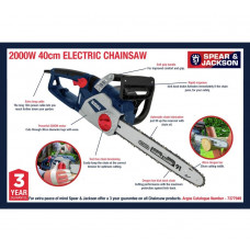 Spear & Jackson 40cm Corded Electric Chainsaw - 2000W