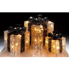 Premier Decorations Set Of 3 LED Parcels