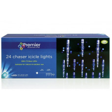Premier Decorations 24 Chaser Icicles With 72 Blue LEDs