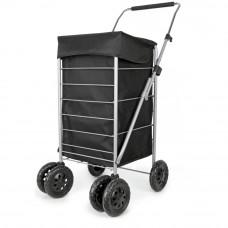 Premium 6 Swivel Wheel Shopping Trolley - Black