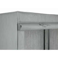 Home Covered Single Wardrobe With Shelves - Grey