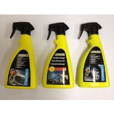 Karcher Car Cleaning Spray Kit 3 Bottles Rim Cleaner, Glass Gel & Insect Remover