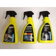 Karcher Car Cleaning Spray Kit 3 Bottles Rim Cleaner, Glass Gel & Insect Remover