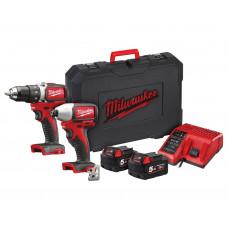 Milwaukee M18BLPP2A2-502X 18v Cordless Drill & Impact Driver Set