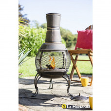 La Hacienda Medium Steel Chiminea - Bronze