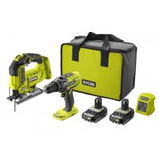 Ryobi R18PDJS-220S 18v ONE+ Cordless Combi Drill & Jigsaw Starter Kit