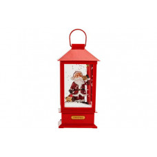 Singing Santa Lantern With Prelit Snow