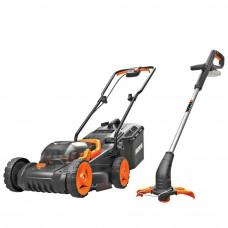 WORX Cordless 34cm Lawnmower & Grass Trimmer Kit - 2 Batteries