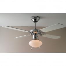 Home Ceiling Fan - White and Chrome (No Light Shade)