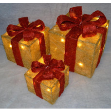 Premier 3 Piece Glitter Parcels With Bow & LED Lights - Gold & Red