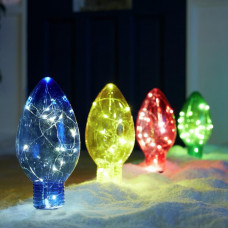 Home Set Of 4 Christmas Bulb Path Finders - Multi-Coloured