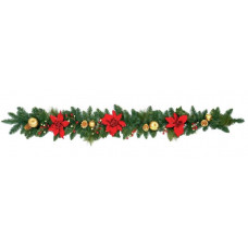 Home 1.8m Poinsetta Garland - Red and Gold