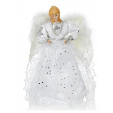 Silver & White Angel Christmas Tree Topper