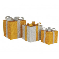 Home Set of 3 Light Up Gift Boxes - Gold
