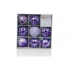 Premier Decorations Set of 9 Sparkle Baubles - Purple