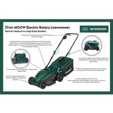 McGregor 37cm Corded Rotary Lawnmower - 1600W