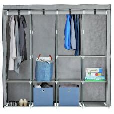 Home Triple Modular Fabric Wardrobe - Grey & Black