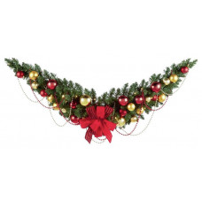 Premier Decorations 30 LED 4ft Decorated Swag Garland - Red & Gold